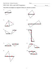 4 Sss Sas Asa And Aas Congruence Kuta Software Infinite Geometry Name Sss Sas Asa And Aas Congruence Date Period State If The Two Triangles Are Course Hero