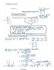 Quadratics Study Guide
