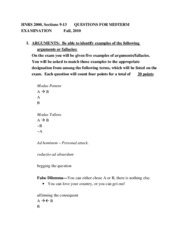 Honors 2000-Midterm Study Guide
