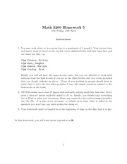 Homework 5 with solutions (MAT3200)