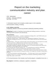 Report on the marketing communication industry and plan career.docx