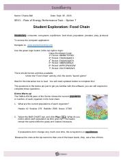 Assignment VII.2 Food Chain GIZMO - Name Date Student ...