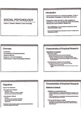 Social Psychology Ch. 2 Research Methods