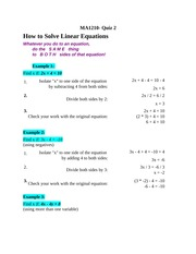 Module 2 - Linear Equations