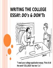 Writing The College Essay - Dos and Donts