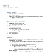Ch 22 Products Liability Lecture
