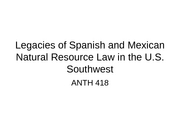 Legacies of Spanish and Mexican Natural Resource Law