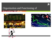 Org and Function of Markets