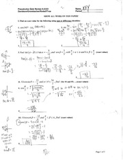 Precal Quiz 6.4-6.8 Review Solutions