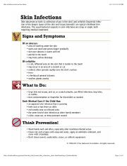 Skin Infections Instruction Sheet