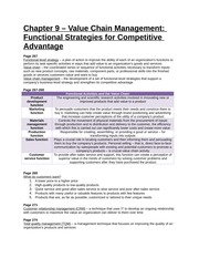 Study Guide - Chapter 9 - Value Chain Management, Functional Strategies for Competitive Advantage
