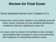 Review of Chapters 9-11