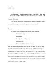uniformly accelerated motion lab