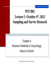 Lecture 5.Sampling Survey Research