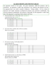 Study Guide on Arguments and Truth Tables