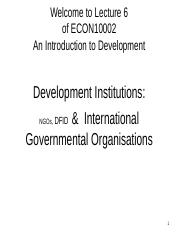 Lecture 6: International Governmental Organisations