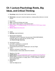 Ch1 Lecture Psychology Roots Big Ideas and CriticalThinking