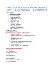 Group 3's report - Sony Electronics