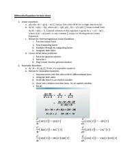 Differential Equations formula sheet
