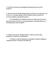 POLS 382 mid term essay questions