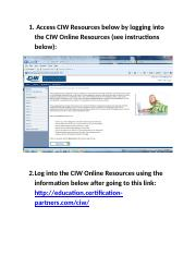 CIW Online Resources Student Access _Must Do_.doc
