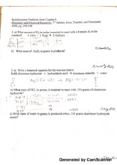 chem120 Stoichiometry problems from chapter 4