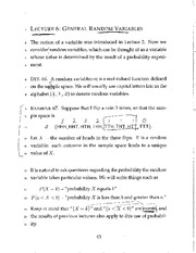 General Random Variables - Completed Lecture 6 Handwritten Notes