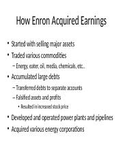 Enron's Earnings and Corporate Culture