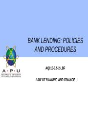 6 - BANK LENDING AND SECURITY DOCUMENTATION