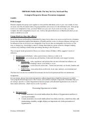 Ecological Persp. and Disease Prevention Assignment.docx