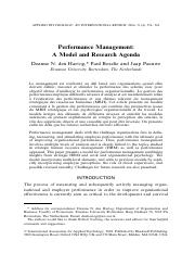 Performance Management a Model and Research