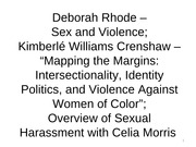 12 - Rhode, Crenshaw, and overview of sexual harassment