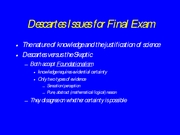 Descartes Issues for Final Exam