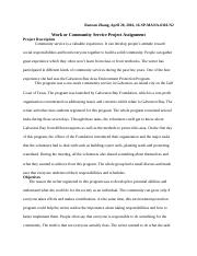 Ranran Zhang_Work or Community Service Assignment 2