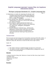 Week 3 English Language Learners' Lesson Plan via Capstone Interactive Library - Marygrove College (