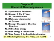 Chapter 19- Chemical Thermodynamics