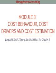 Module 3 - Cost behaviour, cost drivers and cost estimation