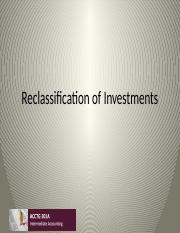 Class 13 Reclassification of Investments