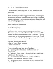 TYPES OF FARM MACHINERY AND THEIR FIELD MANAGEMENT notes