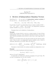 Lecture 9 - Review of Independece Random Vectors