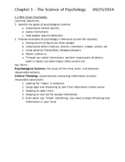 Ch 1-5 Book Notes Psychology 1000
