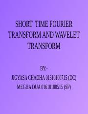 wavelt ppt - SHORT TIME FOURIER TRANSFORM AND WAVELET