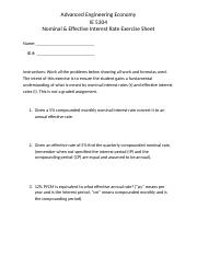 Nominal & Effective Interest Rate Exercise Sheet