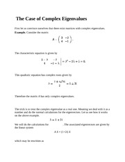 The Case of Complex Eigenvalues