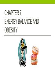 Chapter 7 Obesity and Energy Balance - complete student notes - Fall 2016 - NUTR 202