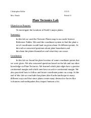 lab cover sheet. (Tectonic plates.docx
