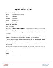 Application-letter- abdullahi university of toronto