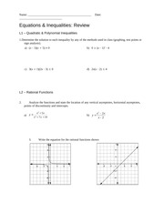 Equations & Inequalities Review Assignment Answers