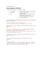 Sound, Balance, and Touch in Driving-Study Guide Answers