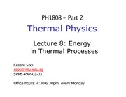 Lecture 8 - Calorimetry and Energy Transfer